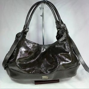 Rare Burberry Marlow Brown Patent Leather Hobo